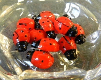 Set of 12 Red and Black 15mm Ladybug Glass Lampwork Beads - Bugs, Insects, Nature - Handmade, Dozen