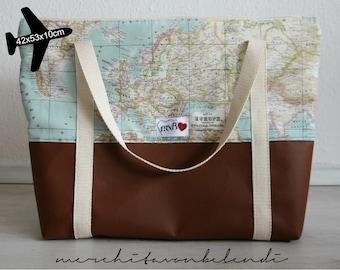 World Map Zippered XXL Bag  faux leather / Maxi Bolso avión mapamundi polipiel