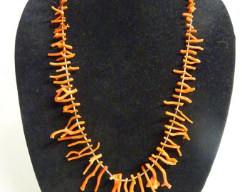 Vintage Native American Graduated Branch Coral Necklace, Liquid Sterling Silver Necklace - FREE SHIPPING