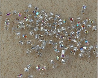 FIRE POLISH Beads, TRUE 2mm, Crystal Ab Silver Lined, 00030/78109, sold in units of 150.