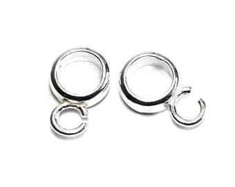 1 pc. Round 925 Sterling Silver Charm Hanger, Charm Carrier, Bail Bead 7 mm