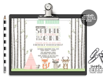 Woodland Girl Birthday Party Invitation First One 1st Woodland Animal Camp Tent Teepee Fox Raccoon Squirrel Deer Coral Pink Mint Lime DIY