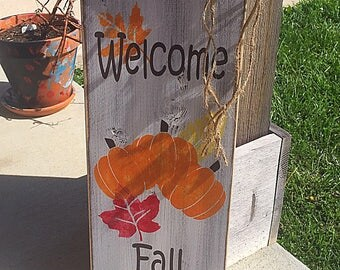 Primitive fall decor, Rustic fall welcome sign, rustic fall decor, fall welcome sign, welcome fall signs, wood fall decor, wood fall signs
