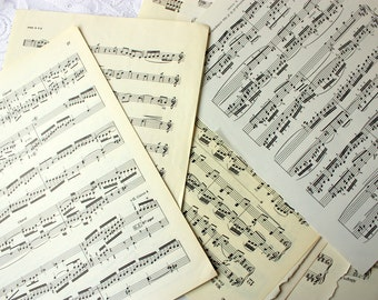 15 vintage Music Pages, Music Sheets, vintage music paper, sheet music, music paper, music ephemera