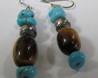 Turquoise, Tigereye and Sterling Silver Dangle Wire Earrings (J)
