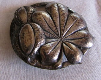 Sterling Silver Leaf and Fruit Pin