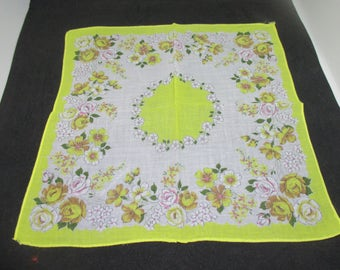 """Vintage Hanky Handkerchief collectible display cottage printed cotton hanky yellow and mustard yellow flowers yellow trim some pink 12""""x12"""""""