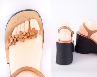 1990s ESPRIT Platform Shoes / Vintage 90s Shoes / Leather Platform Sandals / Chunky Heel / Strappy Sandals / 90s Grunge Wedge Sandals Sz 8.5