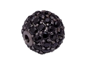 925 Sterling Silver With Black Spinal Pave Setting 8mm Ball Beads