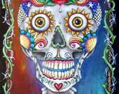 Original Acrylic Painting 12x16 Sugar Skull, Day of the Dead, Dia de los Muertos, Rose Flowers  [Not a Print] Ohio Gulat