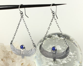 Agate earrings - Scarab earrings - Egyptian earrings - Handmade