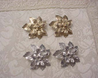 Two Pair Gold-Tone and Silver-Tone Vintage EARRINGS ~ Clip On