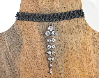 Choker, Black Choker, Crystal Choker, Black necklace