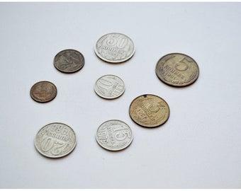 Set of vintage USSR coins (8 pieces) / Набор винтажных монет СССР (8 штук)