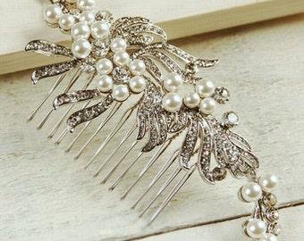 Large Pearl & Diamante Ribbon Hair Comb