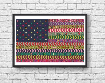 Art-Poster 50 x 70 cm - My Pacific United States Flag