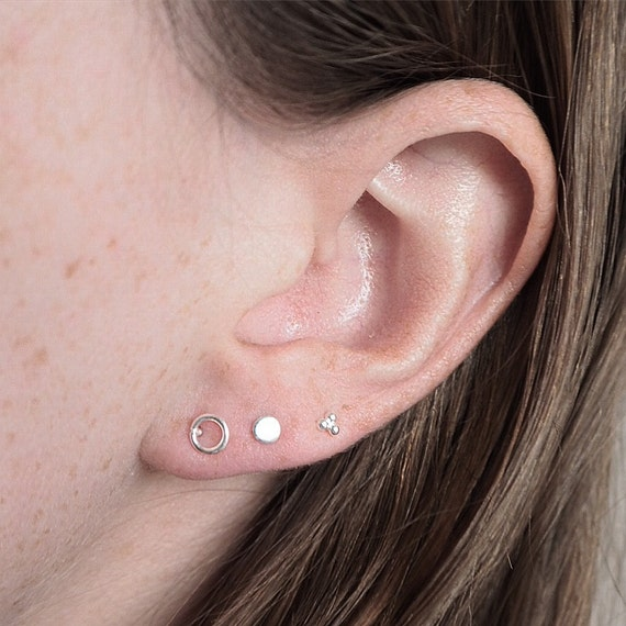 Silver studs | Price per piece | Open circle, closed circle, and triple dot | Minimal earrings | Sterling silver