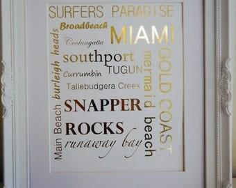 A4 Wall Art - Gold Foil Print Gold Coast - Unframed