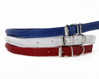 Colorful Rolled Leather Dog Collar Soft 3 Colors Sizes XXXS XXS XS S M Long Haired Dog Breeds Cat Puppy Small Pet Mini Dog Pet Show Fashion