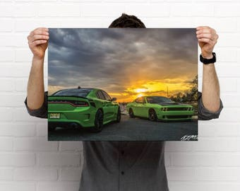 Lime Green Charger and Challenger Poster