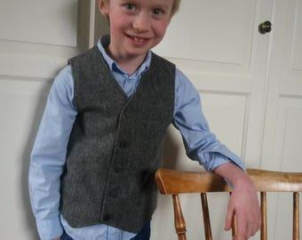 Boys Grey Wool Herringbone Tweed Vest  Woodland Wedding Boys Waistcoat Ring Bearer Outfit