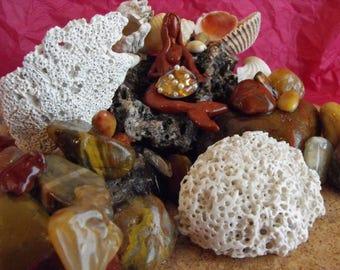 Artist Made Mermaid, Seashell And Jasper Beach Stone Tabletop Arrangement