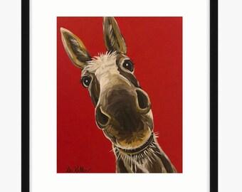 Donkey art print, Donkey prints,  Donkey decor. Donkey print from original canvas painting  of 'Snickers'.