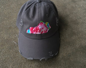Charcoal Floral Distressed Hat Any State