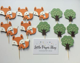Handmade Cupcake Toppers - Fox and Tree Theme x12