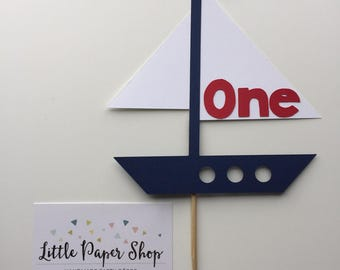 Handmade Cake Topper - Nautical Sail Boat Theme