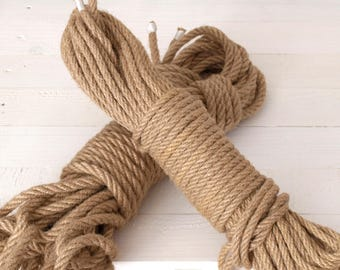 Set of 2 -Natural Hemp Rope/Shibari/Kinbaku/ 30ft  - Thickness 10 mm - DIY projects