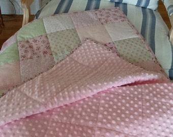 Shabby Chic Quilt Homemade Green and Pink Minky Lap Quilt, Throw Handmade 53 x 59 inches Free Shipping to Canada & USA