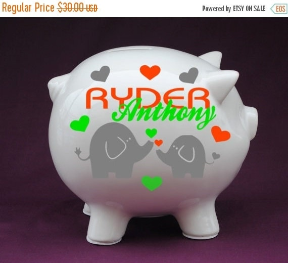 Elephant love personalized piggy bank with by ginghamgigglesbaby - Engraved silver piggy bank ...