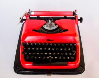 Typewriter retro decor, Red Mid Century 60s vintage BISER typewriter/ Erika 10 / Gift for her, Mad Man style Working Vintage typewriter