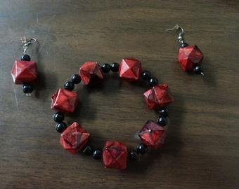 Red and Black Bracelet Set