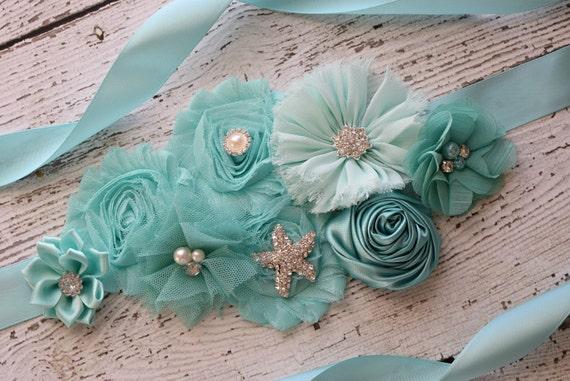 Sash, aqua  beach Sash, flower Belt, maternity sash, wedding sash, baby shower sash