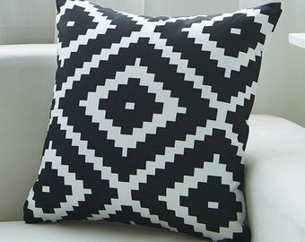 "Decorative pillow, Aztec super soft cushion cover/Black white  throw pillow cushion shell  18x18""/20x20""/22x22"""