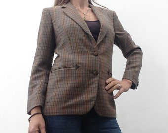 80s vintage BURBERRYS blazer jacket plaid wool leather tartan