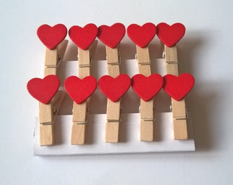 A Pack of 10 Cute Red Mini Heart Pegs