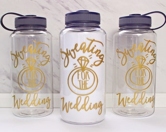 Sweating for the Wedding – Water Tracker Bottle - Unique Hand Drawn Design- Water Intake bottle – BPA free – 34 oz Pretty timeline bottle