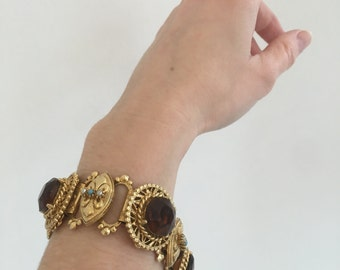 Vintage Mid-Century Gold Tone Book Chain Bracelet with Large Topaz Color Crystals, Turquoise Color Beads and Faux Pearl