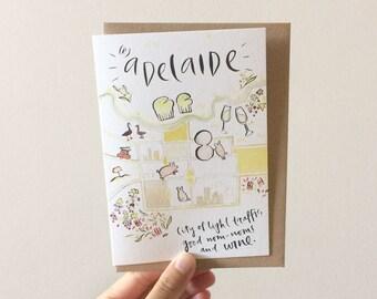 Radelaide Greeting Card - Watercolour + Ink Illustration, 105 x 148mm, Souvenir, Adelaide