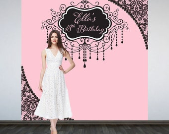 Pink Secret Party Personalized Photo Backdrop -Vintage Glam Photo Backdrop- 18th Birthday Party Large Photo Backdrop, Custom Photo Backdrop