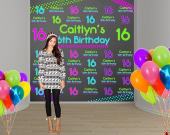 Neon Party Personalized Photo Backdrop -Sweet 16 Party Photo Backdrop- Custom Party Photo Backdrop, 16th Birthday Backdrop