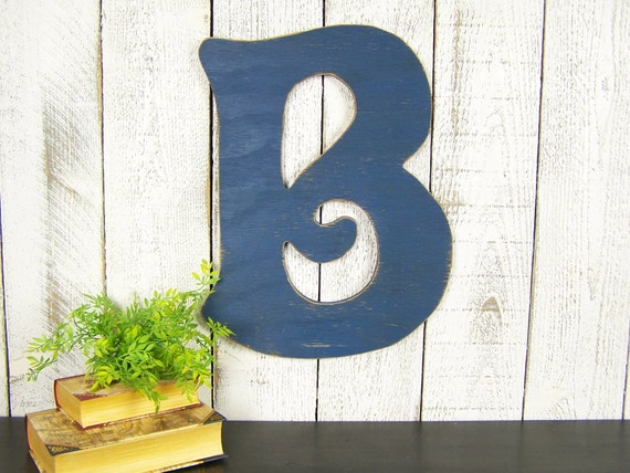 Wall Decor Letter B : Rustic wall letter b large wooden gallery decor