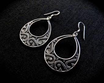 """Grained earrings """"Drops"""" - silver"""