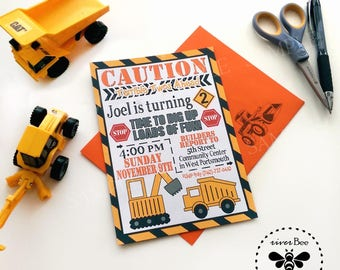 Construction Birthday Invitations Printed with Matching Envelopes / Dump Truck Party Invites with Envelopes / Tonka Inspired Birthday Party