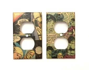 Superhero Outlet Wall Plate - Outlet Plate - Comic Book Outlet Wall Plate - Superhero Wall Art - Superhero Wall Plate - Geek Decor