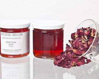 Rose Petal Jelly-  Flower Jelly- Edible Flowers- Gourmet Jam- Preserves- Foodie Gifts - Edible Summer Favor- Housewarming- Tea Lover Gifts