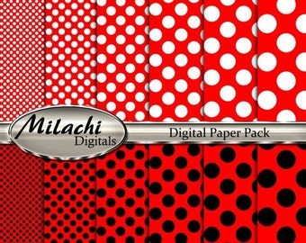 60% OFF SALE Red white black polka dots digital paper pack, scrapbook papers, backgrounds - Commercial Use - Instant Download - M245